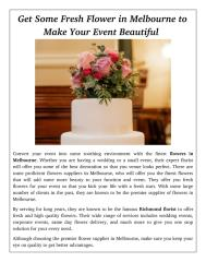 Get Some Fresh Flower in Melbourne to Make Your Event Beautiful.pdf