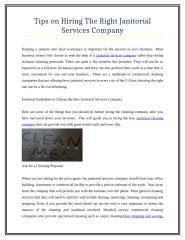 Tips on Hiring The Right Janitorial Services Company.doc